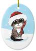 Tabby Cat In Santa Hat Christmas Ornament