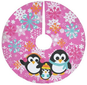Three Penguins Hot Pink Tree Skirt