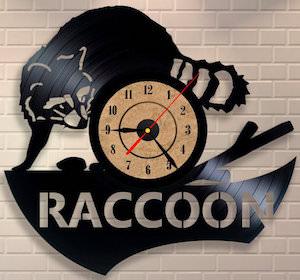 Vinyl Record Raccoon Wall Clock