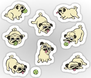 Playful Pugs Sticker Set
