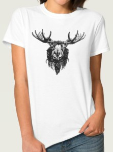 Black Moose Head Portrait Ladies T-Shirt