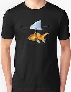 Goldfish Wearing A Shark Fin T-Shirt