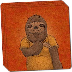 Sloth Cork Coaster Set