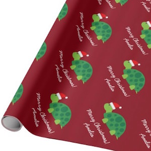Personalized Turtle Christmas Wrapping Paper