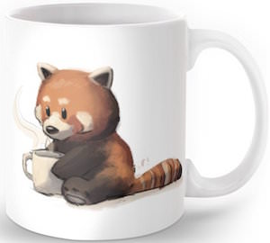 Red Panda Drinking Coffee Mug