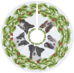 Border Collie Christmas Tree Skirt