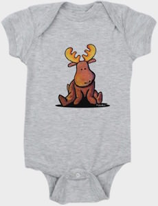 Cute Moose Baby Bodysuit
