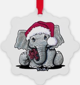Christmas Baby Elephant Ornament
