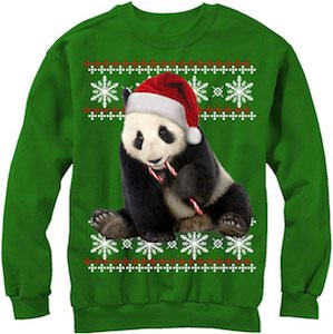 Women's Candy Cane Panda Christmas Sweater
