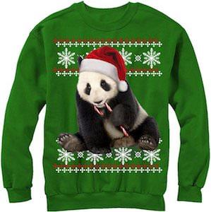 Women's Candy Cane Panda Christmas Sweater