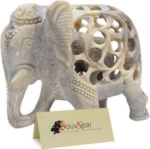 Stone Carved Elephant Figurine