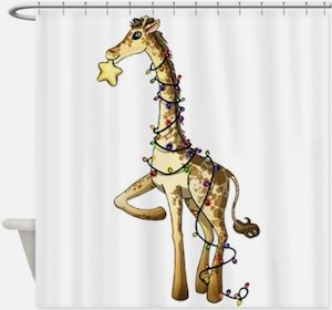 Giraffe Christmas Shower Curtain