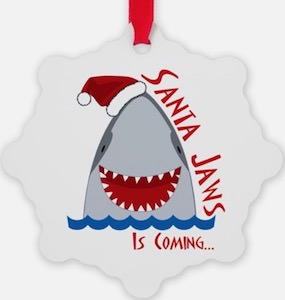 Santa Jaws Is Coming Christmas Ornament