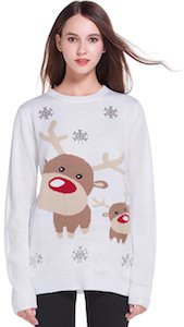 White Christmas Sweater With Reindeer