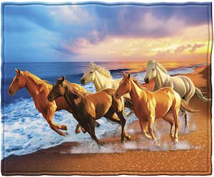 Running Horses On The Beach Throw Blanket