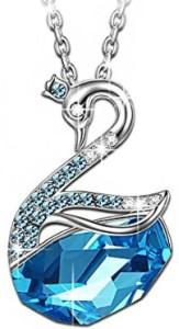 Blue Swan Pendant Necklace