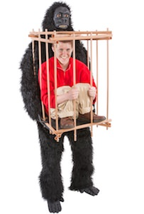 Caged Human Carried By A Gorilla Costume