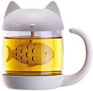Cat Tea Mug With Tea Infuser Fish