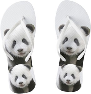 Two Panda Bears Flip Flops