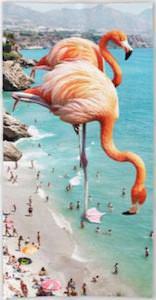Giant flamingos towel