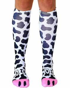 Cow Print Knee Socks With Cow Face