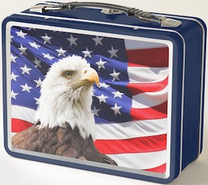 Bald Eagle And US Flag Lunch Box