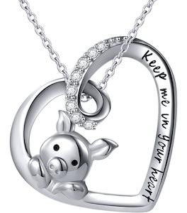 Pig In A Heart Necklace