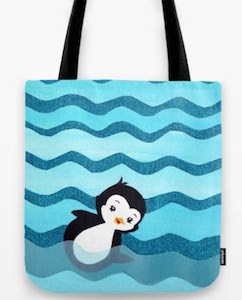 Swimming Penguin Tote Bag