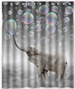 Bubble Blowing Elephant Shower Curtain