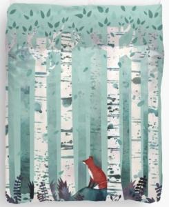 Red Fox In Birches Duvet Cover