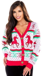 Unicorn Ugly Christmas Sweater Cardigan