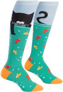 Cat Fishing Knee Socks