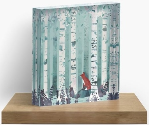 Red Fox In Birch Trees Acrylic Box