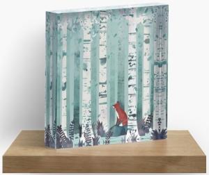 Red Fox In Birch Trees Acrylic Box