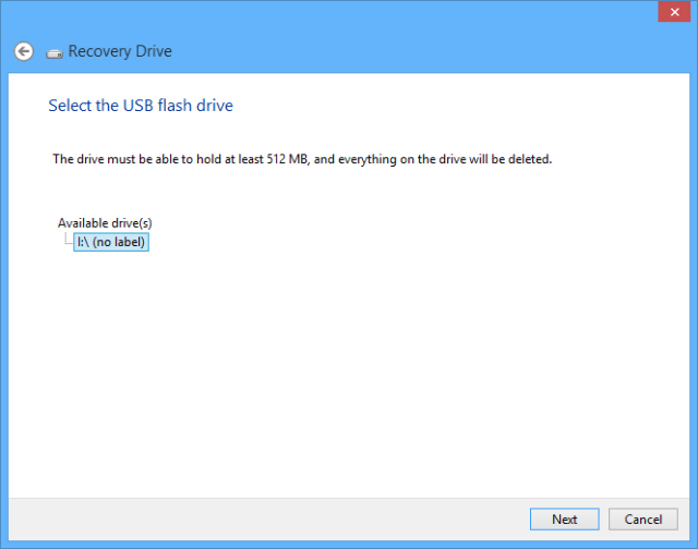 Windows 10 recovery drive - select USB drive