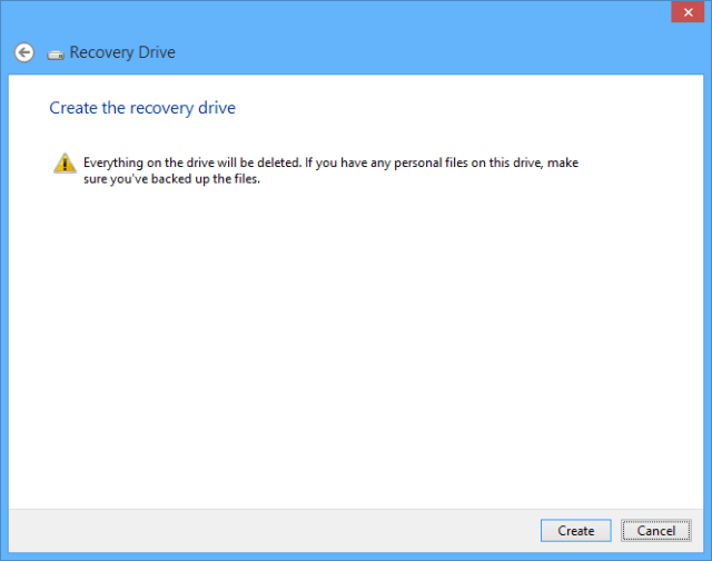 System recovery drive - format warning