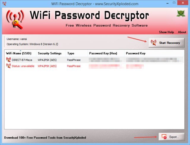Recover WiFi Password - Click Start Recovery