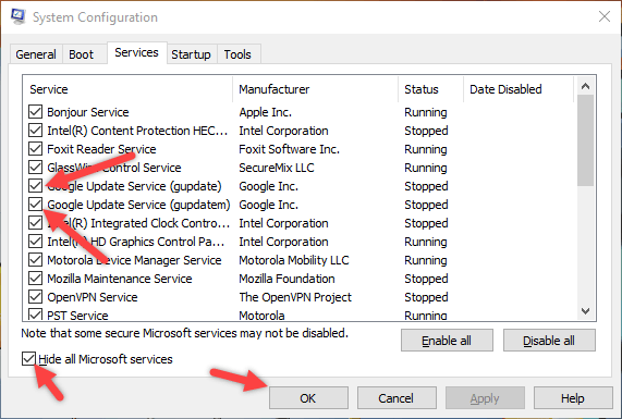 fix SYSTEM_SERVICE_EXCEPTION error Windows 10 disable update services