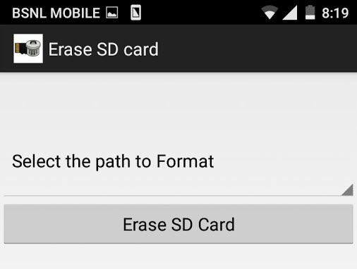 format sd card in android erase sd card app