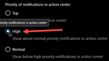 set notification priorities in windows 10 set notification priority