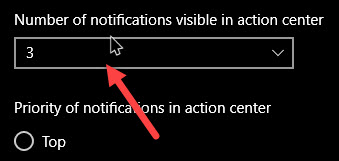 set notification priorities in windows 10 set number of visible notifications