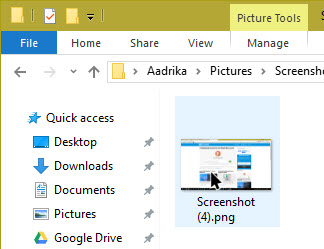 take a screenshot in windows 10 screenshot saved