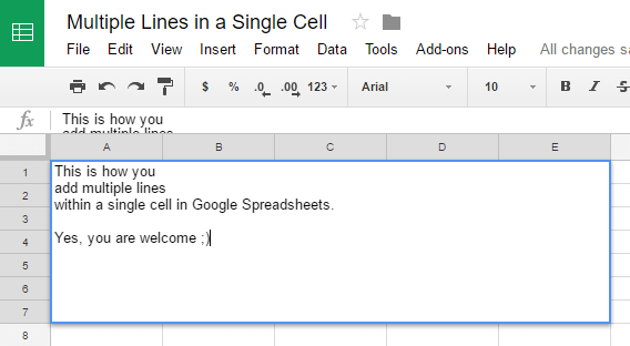 Google Spreadsheets Tips - Multiple Lines in a Single Cell