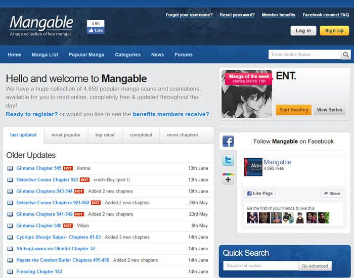 Best manga website - Mangable