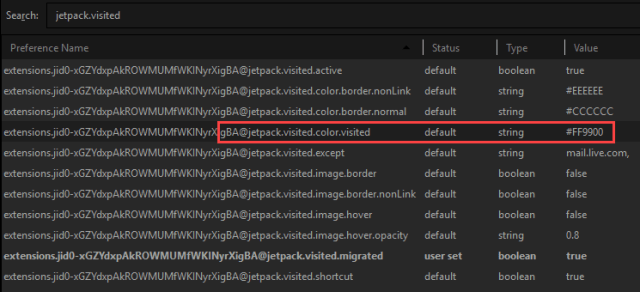 Change visited link color in Firefox - Change color