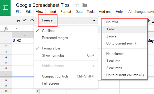 Google Spreadsheets Tips - Freeze Rows