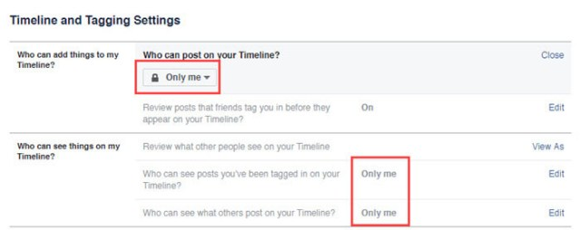 Hide Facebook Profile - Select only me in Timeline and tagging section