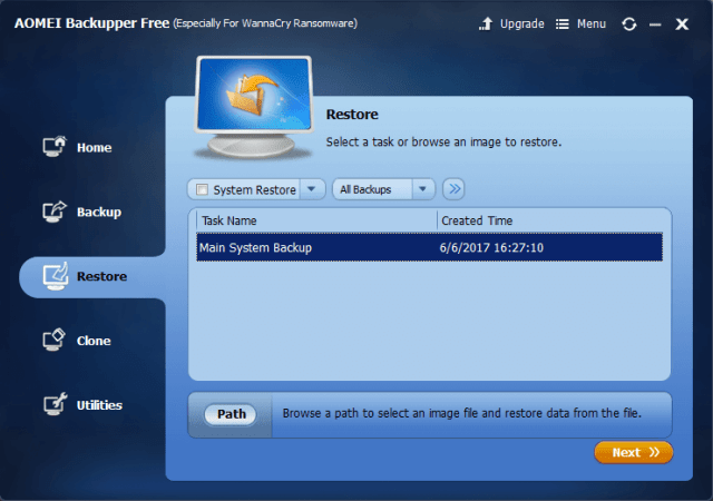 AOMEI Backupper Review - Restore Backup