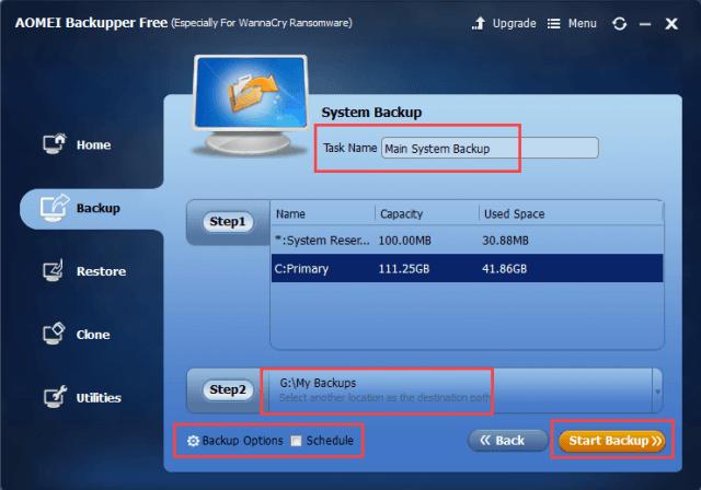 AOMEI Backupper Review - Start Backup