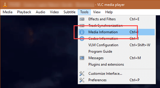 Download YouTube videos with VLC- select media information